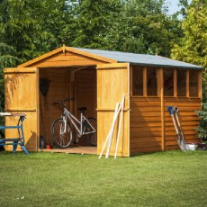 12 x 8 (3.59m x 2.39m) Shire Overlap Apex Garden Shed with Double Doors