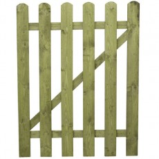 4ft High (1220mm) Mercia Round Top Palisade Gate - Pressure Treated