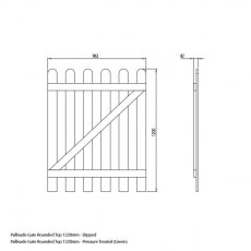 Mercia 4ft High (1220mm) Mercia Round Top Palisade Gate - Pressure Treated