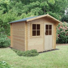 10G x 14 (2.99m x 3.59m) Shire Herewood Log Cabin (28mm Logs)