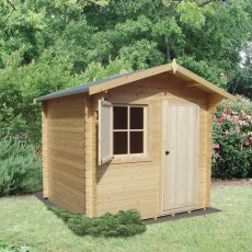 8G x 12 (2.39m x 3.59m) Shire Belham Log Cabin (28mm Logs)