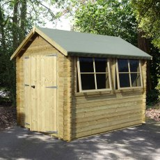 8G x 12 (2.39m x 3.59m) Shire Solway Log Cabin (28mm to 70mm Logs)