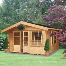 12G x 10 (3.59m x 2.99m) Shire Hale Log Cabin (28mm Logs)