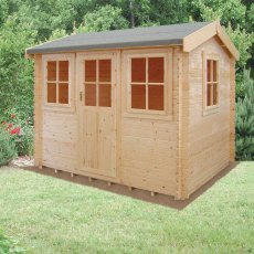 8G X 10 (2.39m x 2.99m) Shire Hemsted Log Cabin (28mm to 70mm Logs)