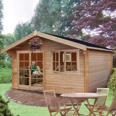 12G x 14 (3.59m x 4.19m) Shire Abbeyford Log Cabin (28mm to 70mm Logs)