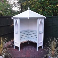 Shire Honeysuckle Corner Arbour - painted in white