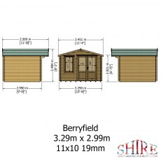 11 x 10 Shire Berryfield Log Cabin - Interior view of roof