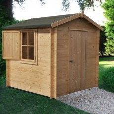 8G x 8 (2.39m x 2.39m) Shire Camelot Log Cabin (19mm Logs)