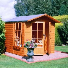 7 x 7 Shire Buckingham Summerhouse - Pressure Treated - angled with doors and window open