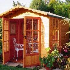 7 x 7 Shire Buckingham Summerhouse - Pressure Treated - close up with doors open