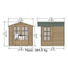 7 x 7 Shire Buckingham Summerhouse - Pressure Treated - external dimensions