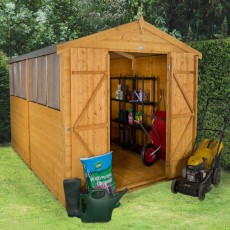 8 x 12 (2.46m x 3.72m) Forest Shiplap Workshop Shed - Double Doors