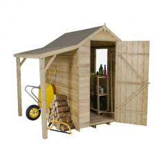 6 x 4 (1.82m x 1.32m) Forest Overlap Pressure Treated Apex Shed - With Log Store Canopy