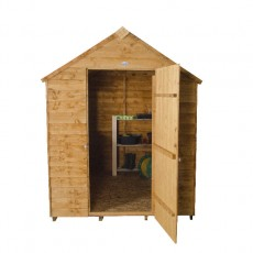7 x 5 Forest Overlap Apex Garden Shed - Front view, door open