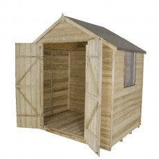 5 x 7 (1.44m x 2.07m) Forest Overlap Pressure Treated Apex Shed (Double Door)