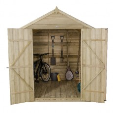 7 x 7 (2.07m x 2.06m) Forest Overlap Pressure Treated Apex Shed (Double Door)
