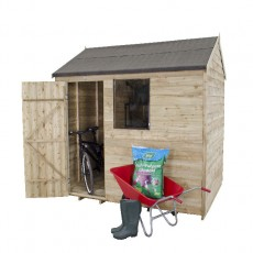8 x 6 (2.33m x 1.78m) Forest Overlap Pressure Treated Reverse Apex Shed