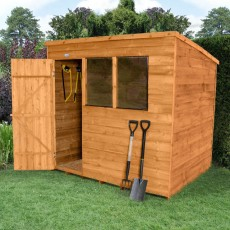 8 x 6 (2.33m x 1.75m) Forest Overlap Pent Garden Shed