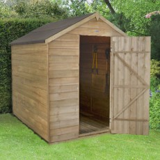 8 x 6 (2.33m x 1.78m) Forest Overlap Pressure Treated Apex Shed - No Windows
