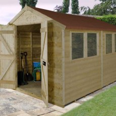 10 x 8 (3.07m x 2.45m) Forest Tongue And Groove Pressure Treated Apex Shed