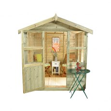 6 x 6 Forest Charlbury  Pressure TreatedShiplap Summerhouse - isolated view of front