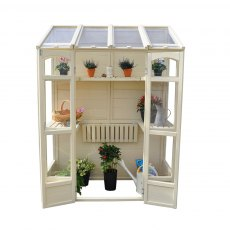 "4'10"" (1.47m) Wide Victorian Tall Wall Greenhouse - front view with doors open"
