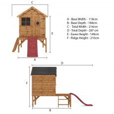 4 x 4 Mercia Snug Tower Playhouse with Slide - Floor plan