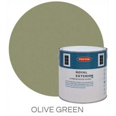 Protek Royal Exterior Paint 5 Litres - Olive Green Colour Swatch with Pot