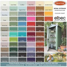 Protek Royal Exterior Wood Finish - Paint Colour Chart