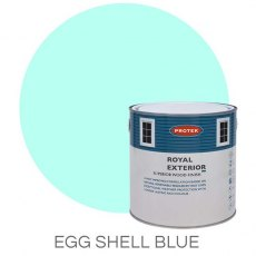 Protek Royal Exterior Paint 5 Litres - Eggshell Blue Colour Swatch with Pot