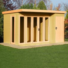 12x8 Shire Aster Summerhouse with Side Storage - unpainted with doors closed