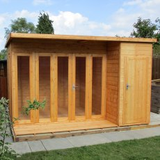 12x8 Shire Aster Summerhouse with Side Storage - natural angled view
