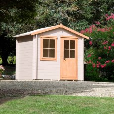 8 x 6 Shire Avesbury Log Cabin - In situ