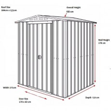 Dimensions for 6 x 4 Lotus Apex Metal Shed in Anthracite Grey