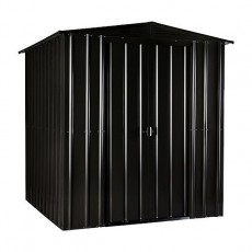 Isolated view of 6 x 4 Lotus Apex Metal Shed in Anthracite Grey with sliding doors closed