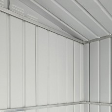 Interior view of high quality galvanised steel construction used for 6 x 4 Lotus Apex Metal Shed in