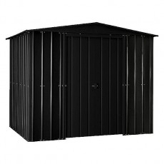 Isolated view of 8 x 5 Lotus Apex Metal Shed in Anthracite Grey with doors closed