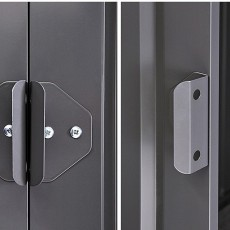 Locking mechanism on 8 x 5 Lotus Apex Metal Shed in Anthracite Grey