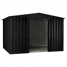 Isolated view of 10 x 7 Lotus Apex Metal Shed in Anthracite Grey with doors open