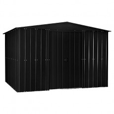 Isolated view of 10 x 7 Lotus Apex Metal Shed in Anthracite Grey with doors closed