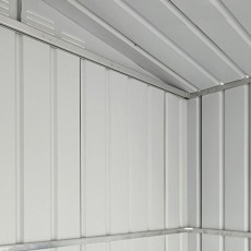 Interior view of high quality galvanised steel construction on 10 x 7 Lotus Apex Metal Shed in Anthr