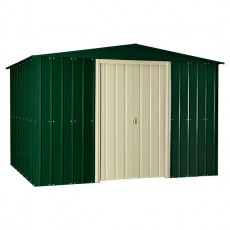 10 x 10 (2.95m x 2.99m) Lotus Apex Metal Shed in Heritage Green
