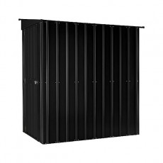 Isolated side view of 4 x 6 Lotus Lean-To Metal Shed in Anthracite Grey with door cl