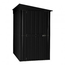 Isolated view of 4 x 8 Lotus Lean-To Metal Shed in Anthracite Grey with door closed