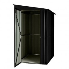 Isolated view of 4 x 8 Lotus Lean-To Metal Shed in Anthracite Grey with door open