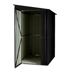 Isolated view of 5 x 8 Lotus Lean-To Metal Shed in Anthracite Grey with door open