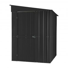 Isolated side view of 5 x 8 Lotus Lean-To Metal Shed in Anthracite Grey with door closed