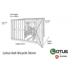 Dimensions of 6 x 6 Lotus Metal Bike Store in Anthracite Grey