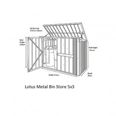 Dimensions of 5 x 3 Lotus Metal Double Bin Store in Anthracite Grey