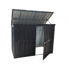 Isolated view of 5 x 3 Lotus Metal Double Bin Store in Anthracite Grey